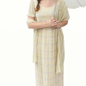 Regency Dress – Cream with Multi-coloured Detailing
