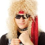 BLonde curly rock star mullet | Costume Hire Brisbane | Camelot Costumes